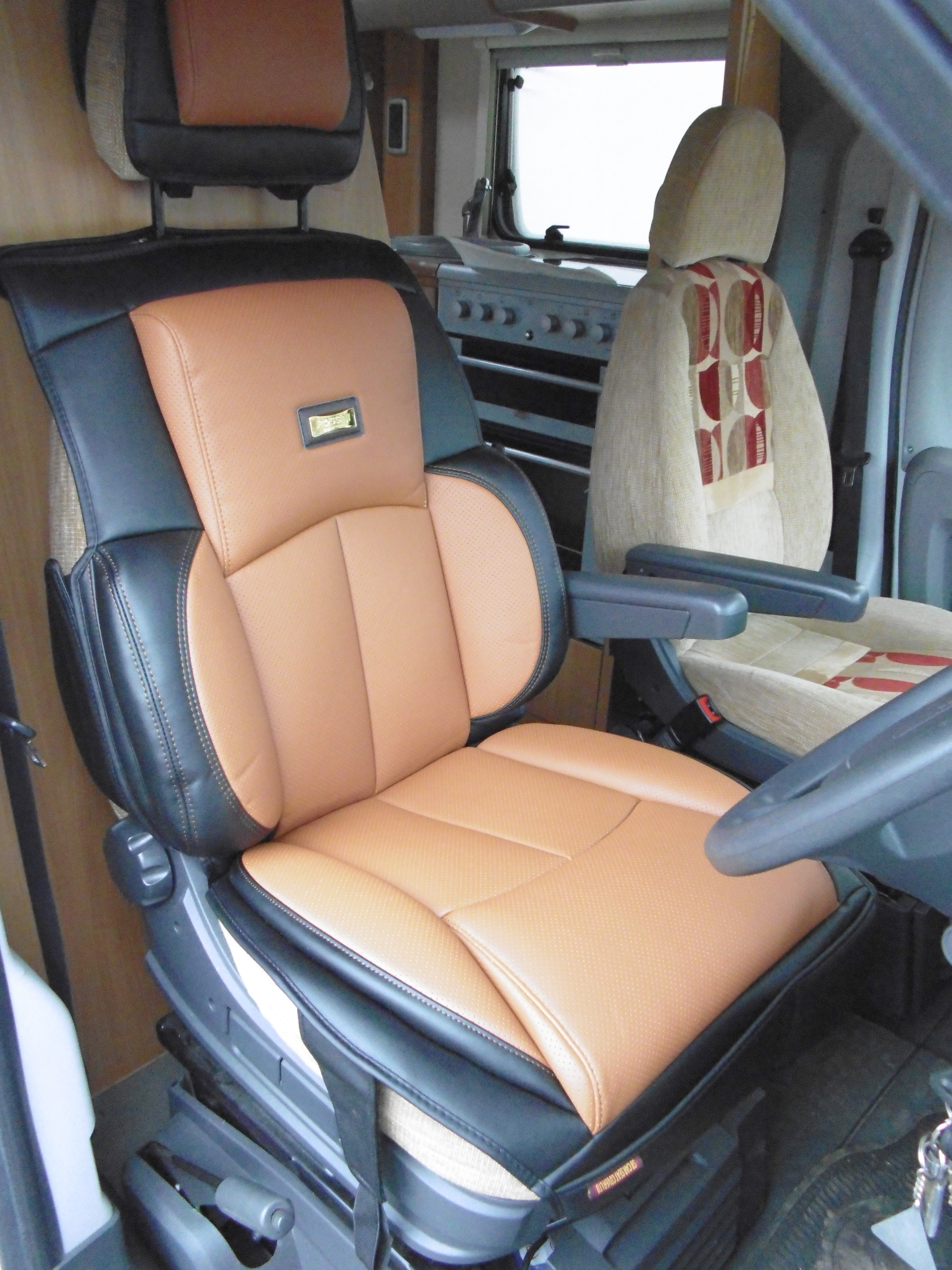 Motorhomes Seat Covers Rossini Leatherette Tan